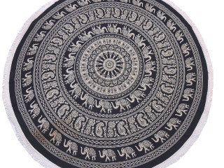 """Black Brown Elephant Paisley Tablecloth - Cotton Block Print Round Fringed Table Topper 70"""""""