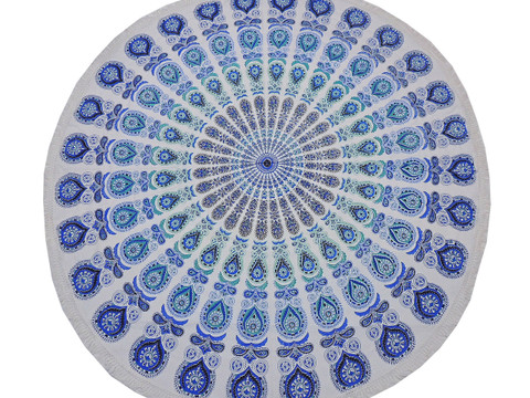 """Blue Peacock Tail Fan Round Tablecloth - Cotton Print Fringed Table Topper 70"""""""