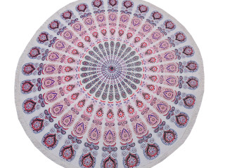 """Pink Peacock Tail Fan Round Tablecloth - Cotton Print Fringed Table Topper 70"""""""