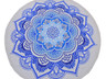 """Blue White Floral Round Tablecloth - Cotton Block Print Fringed Table Topper 70"""""""