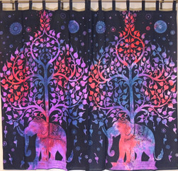 Elephant Tree of Life Curtain Panels - 2 Cotton Print Window Treatments 80""