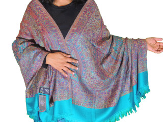 Turquoise Blue and Purple Paisley Dress Shawl Kashmir Wool Scarf Afghan 80""