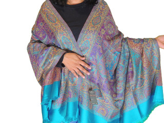 Turquoise Blue and Purple Floral Dress Shawl Kashmir Wool Scarf Afghan 80""