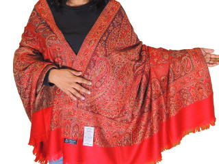 Red Paisley Cozy Jamawar Dress Shawl Kashmir Wool Scarf Large Afghan 80""