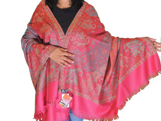 Coral Pink Floral Cozy Jamawar Dress Shawl Kashmir Wool Scarf Large Afghan 80""