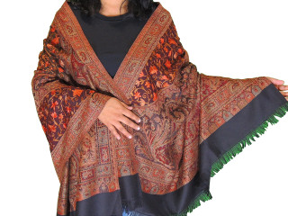 Black Burgundy Embroidered Shoulder Shawl - Kashmir Floral Wool Scarf Afghan 80""