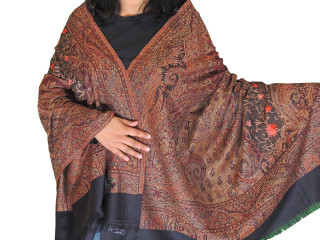 Black Brown Embroidered Shoulder Shawl - Kashmir Paisley Wool Scarf Afghan 80""