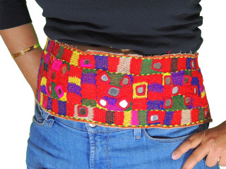 Tribal Belly Dance Belt Kuchi Fashion Hand Embroidered Mirror Trim Textile