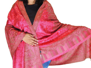 Coral Pink Embroidered Shoulder Shawl - Kashmir Paisley Wool Scarf Afghan 80""