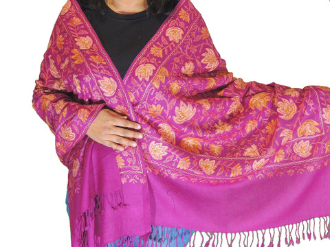 Pearly Purple Floral Premium Kashmir Shawl - Ladies Embroidered Wool Dress Scarf 78""