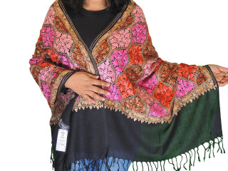 Black Floral Premium Kashmir Shawl - Ladies Embroidered Wool Dress Scarf 78""