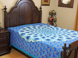 Blue Teal Peacock Feather Tapestry Bed Sheet - Cotton Bedding Linens ~ Full