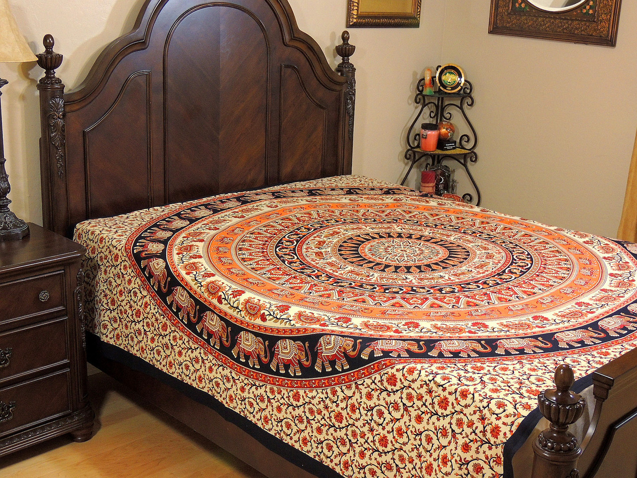 Cream Orange Mandala Tapestry Bed Sheet   Cotton Elephant Bedding Linens ~  Full.