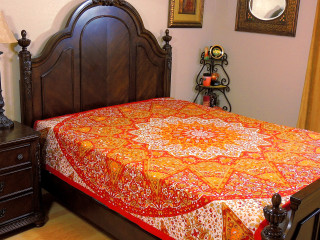 Orange Red Floral Elephant Tapestry Bed Sheet - Cotton Bedding Linens ~ Full