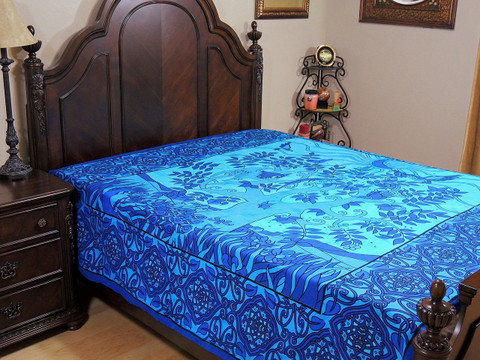 Blue Tree of Life Tapestry Bed Sheet - Cotton Bedding Linens ~ Full