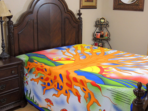 Orange Bohemian Tree of Life Tapestry Bed Sheet - Cotton Bedding Linens ~ Full