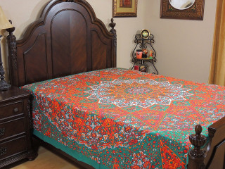 Orange Seafoam Green Floral Elephant Tapestry Bed Sheet - Cotton Bedding Linens ~ Full