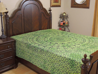 Green Mandala Elephant Tapestry Bed Sheet - Cotton Bedding Linens ~ Full