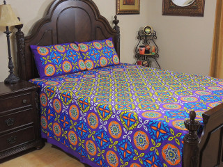 Purple Geometric Floral Cotton Bedspread – Ethnic Luxury Bed Sheet Pillowcases ~ Queen
