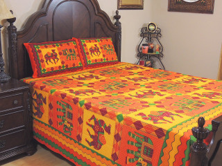 Orange Yellow Elephant Camel Cotton Bedspread – Ethnic Bed Sheet Pillowcases ~ Queen