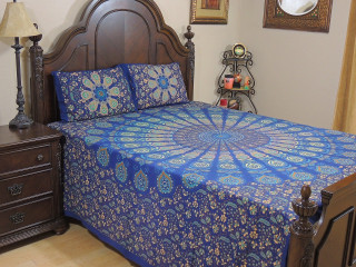 Blue Peacock Plumage Cotton Bedspread – Ethnic Bed Sheet Pillowcases ~ Queen