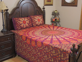 Garnet Peacock Plumage Cotton Bedspread – Ethnic Bed Sheet Pillowcases ~ Queen