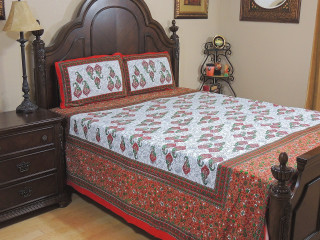 Red Green Paisley Cotton Bedspread – Ethnic Bed Sheet Pillowcases ~ Queen
