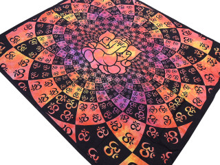"Crimson Yellow Ganesha Aum Tapestry - Ethnic Indian Wall Hanging ~ XL 84"" x 80"""