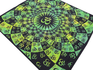 "Lime Green Aum Tapestry - Ethnic Indian Wall Hanging ~ XL 84"" x 80"""