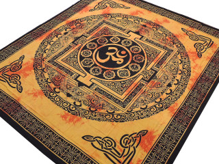 "Yellow Orange Mandala Aum Tapestry - Ethnic Indian Wall Hanging ~ XL 84"" x 80"""