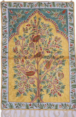"Gold Tree of Life Chain Stitch Rug - Unique Kashmir Crewel Wall Tapestry 36"" x 24"""