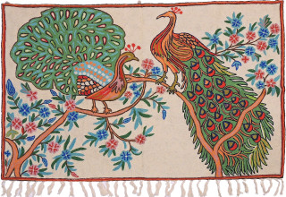 "Ivory Dancing Peacock Rug - Crewel Chain Stitch Kashmir Embroidery Wall Tapestry 48""x30"""