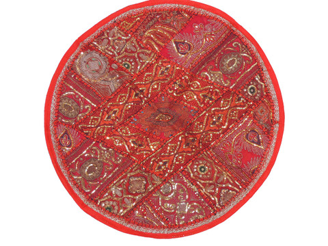 Red Round Unique Pillow Cover - Floor Seating Decorative Indian Cushion 26""