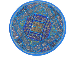 Blue Round Sari Sequin Pillow Cover - Floor Seating Decorative Indian Cushion 26""