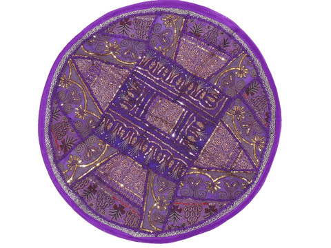 Purple Round Unique Pillow Cover - Floor Seating Decorative Indian Cushion 26""