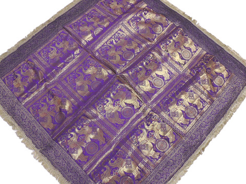 Purple Elephant Zari Brocade Tablecloth - Fringed Indian Table Overlay Topper 48""