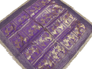 """Purple Elephant Zari Brocade Tablecloth - Fringed Indian Table Overlay Topper 48"""""""