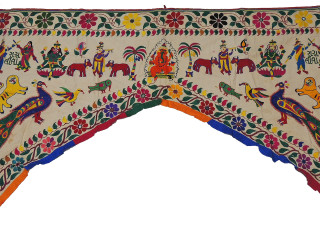 "Ivory Hand Embroidered Ganesha Peacock Valance Toran - Ethnic Doorway Topper Gate 84""x60"""