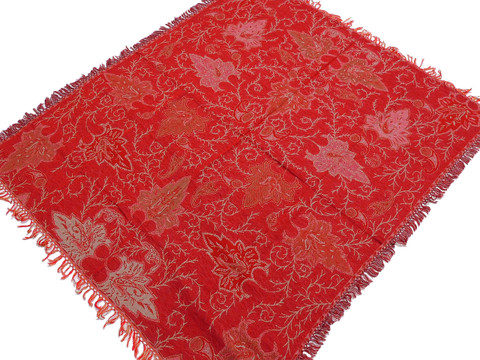 """Maroon Floral Wool Woven Tablecloth - Rectangular Fringed Table Overlay 54"""" x 60"""""""