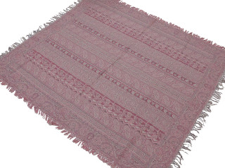 "Pastel Pink and Ivory Paisley Wool Woven Tablecloth - Rectangular Fringed Table Overlay 54"" x 60"""