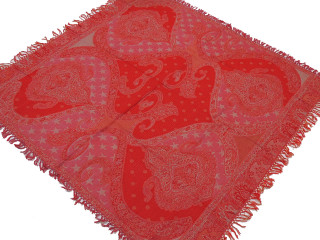 "Red Paisley Wool Ethnic Tablecloth - Rectangular Fringed Table Overlay Throw 54"" x 60"""