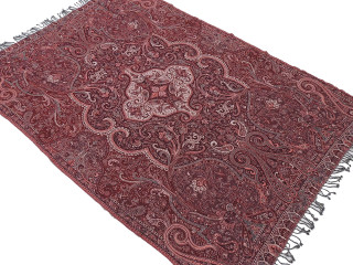 "Merlot Red Paisley Wool Elegant Tablecloth - Rectangular Fringed Ethnic Table Overlay Throw 90"" x 60"""