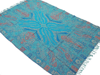 "Turquoise Blue Paisley Wool Elegant Tablecloth - Rectangular Fringed Ethnic Table Overlay Throw 90"" x 60"""