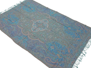 "Bohemian Paisley Wool Elegant Tablecloth - Rectangular Fringed Ethnic Table Overlay Throw 90"" x 60"""