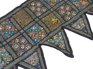 Black Window Valance Door Topper - Kundan Work Elegant Handmade Toran 60""