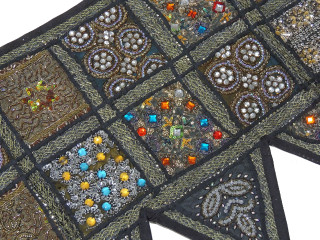 Black Patchwork Window Valance Door Topper - Kundan Work Handmade Toran 60""