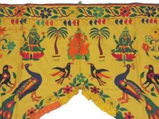 "Yellow Ganesha Lakshmi Window Valance Toran - Vintage Ornate Embroidered DoorTopper Gate 48""x40"""