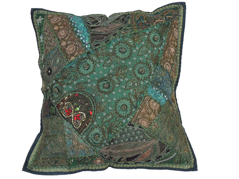 Green Large European Square Pillow Case ~ Tapestry Floor Handmade Cushion ~ 26 Inch