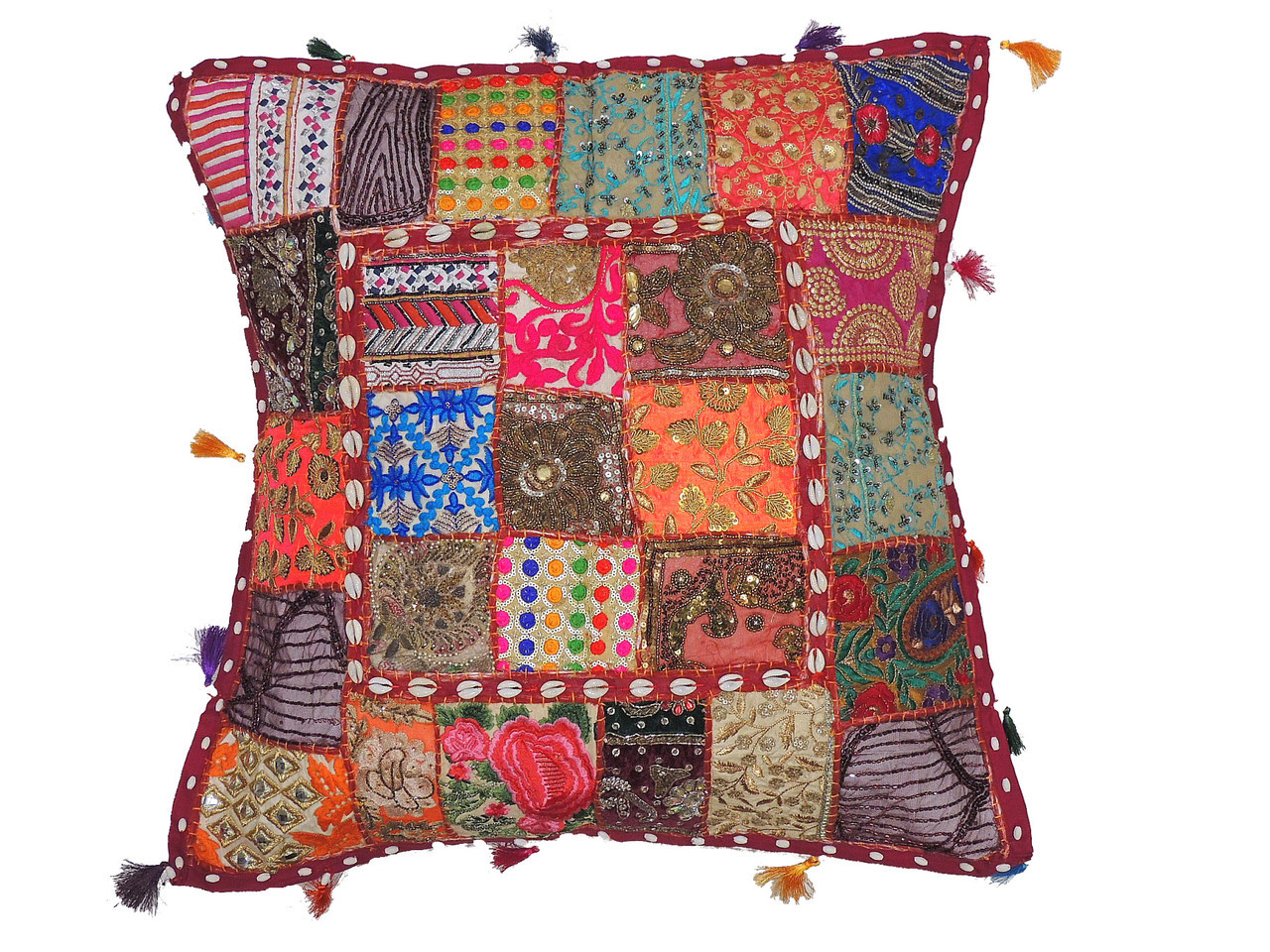 Handmade Multicolor Euro Pillow Case ~ Beaded Patchwork Tapestry ...