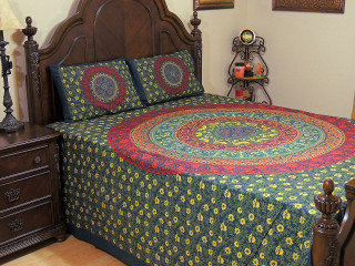 Navy Blue Mandala Floral Cotton Printed Sheet Set – Ethnic Bedding Pillowcases ~ Queen